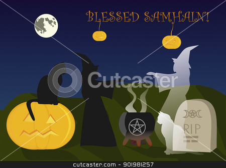 Samhain and immortal friendship stock vector clipart, Live and ghost witch conjures at Samhain by Viacheslav Belyaev