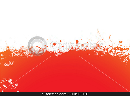 Orange splat band stock vector clipart, Orange and red ink splat banner background by Michael Travers