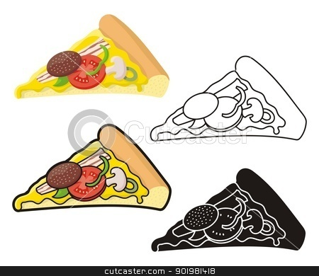 Pizza slice stock vector clipart, Pizza slice illustration in four versions. by fractal.gr