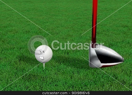 Cartoon golf ball being hit with driver stock photo, Cartoon golf ball being hit with driver by Dennis Connelly