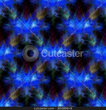 Blue Fractal stock photo, Abstract fractal on black background with vibrant colors. by Henrik Lehnerer