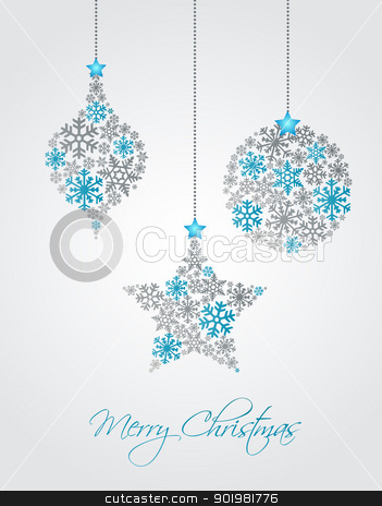 Christmas background stock vector clipart, Christmas ornaments made from snowflakes vector illustration by Miroslava Hlavacova