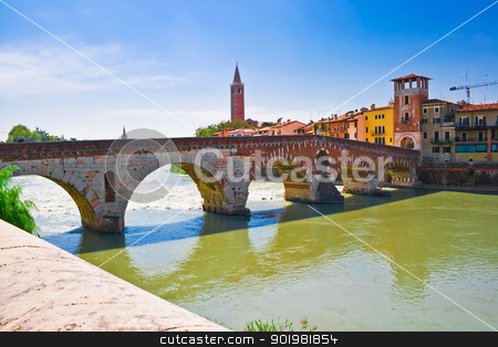 Bridge in Verona stock photo, Ancient roman bridge over Adige river in Verona, Italy by Alexey Popov