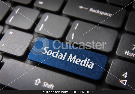 Blue keyboard key with social media words stock photo, Blue key with Social media words on laptop keyboard. Included clipping path, so you can easily edit it. by Cienpies Design