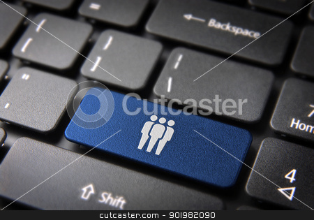 Blue network team keyboard key, business background stock photo, Human resources key with network team icon on laptop keyboard. Included clipping path, so you can easily edit it. by Cienpies Design