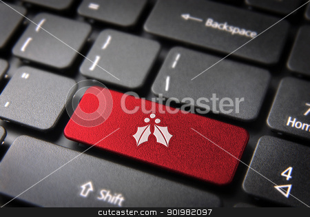 Christmas keyboard key with mistletoe icon stock photo, Red Christmas key with mistletoe icon on laptop keyboard. Included clipping path, so you can easily edit it. by Cienpies Design