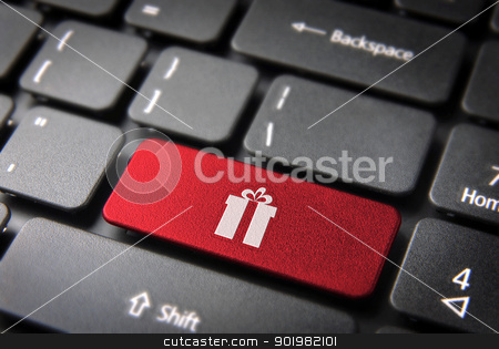 Xmas gift keyboard key season background stock photo, Red Christmas key with gift box icon on laptop keyboard. Included clipping path, so you can easily edit it. by Cienpies Design
