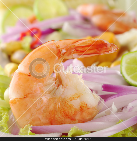 Peruvian Ceviche with Prawn stock photo, Peruvian Prawn Ceviche: King prawn on red onions and lettuce with lime slices (Selective Focus, Focus on the prawn)   by Ildi Papp