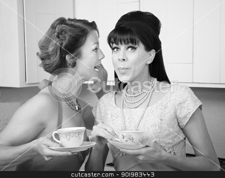 Woman Shares a Secret stock photo, Retro styled Caucasian woman shares a secret with her friend by Scott Griessel
