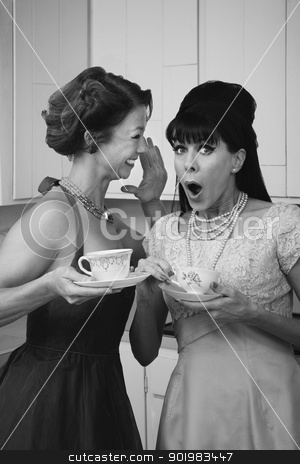 Shocked Woman stock photo, Pretty retro Caucasian women gossiping over coffee in kitchen by Scott Griessel