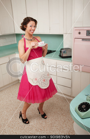 Happy Woman Drinks Coffee stock photo, Happy retro styled woman drinks coffee while on her toes by Scott Griessel