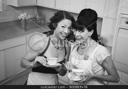 Two Women Gossiping stock photo, Two retro housewives with tea in a kitchen by Scott Griessel