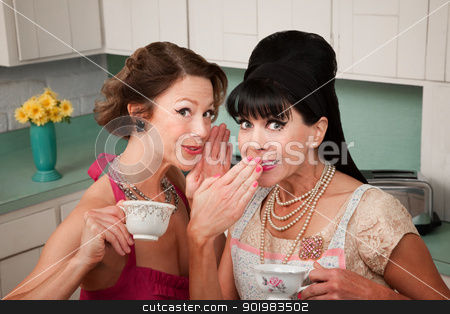 Woman Whispers a Secret stock photo, Middle-aged retro styled Caucasian woman whispers secret to her friend by Scott Griessel