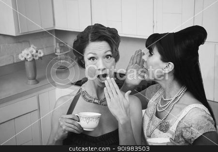 Woman Whispers a Secret stock photo, Woman whispers secret into a friend's ear by Scott Griessel