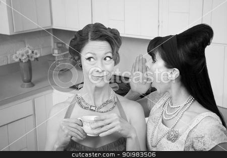 Woman Whispering Secret  stock photo, Retro styled woman whispers secret into friend's ear by Scott Griessel