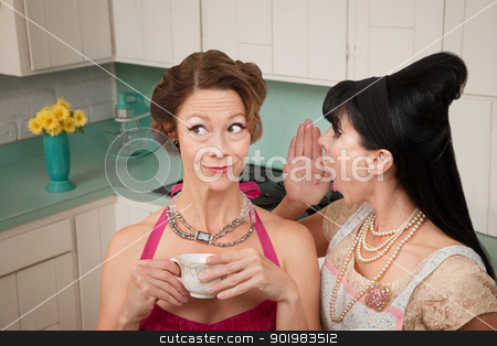 Woman Whispering Secret  stock photo, Retro styled woman whispers secret into friend's ear by Scott Griessel