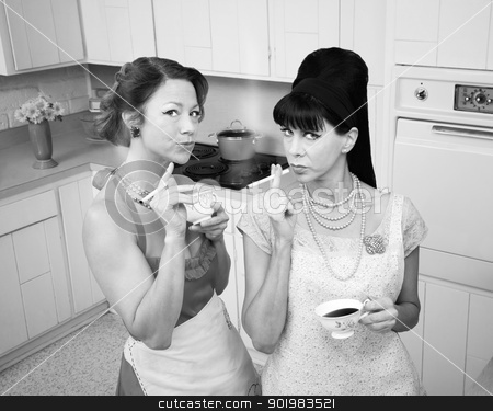 Women Smoking Cigarette stock photo, Two retro-styled women smoking cigarettes in a kitchen by Scott Griessel