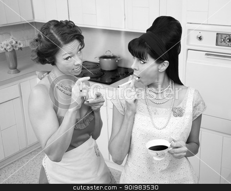 Talking in the Kitchen stock photo, Gossping women smoking and drinking tea in a retro-style kitchen  by Scott Griessel