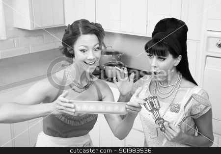 Excited Women stock photo, Two excited Caucasian women trying out a new recipe by Scott Griessel