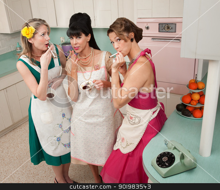 Women Enjoying Cup of Coffee stock photo, Three beautiful retro-styled women enjoy cup of coffee with cigarette by Scott Griessel