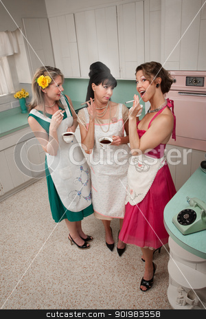 Three Women Gossiping stock photo, Three women gossiping in a kitchen while smoking cigarettes by Scott Griessel