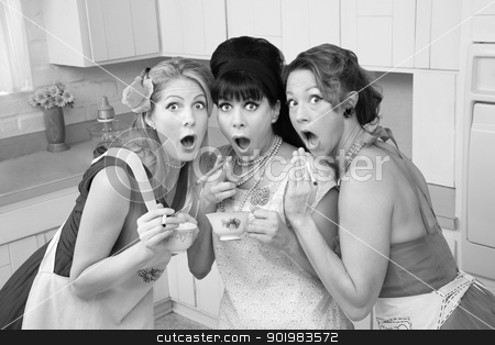 Shocked Women stock photo, Three surprised middle-aged 1950s retro-style women with cigarettes and tea by Scott Griessel