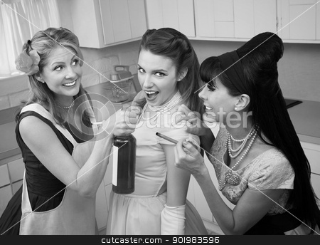 Partying Housewives stock photo, Young woman goes along with friends to smoke and drink in a kitchen by Scott Griessel