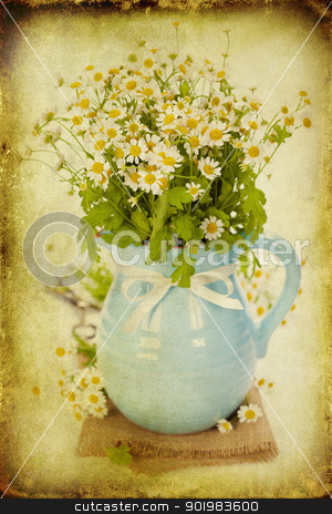 flowers in a vase stock photo, vintage paper textures with beautiful garden flowers in a vase by klenova