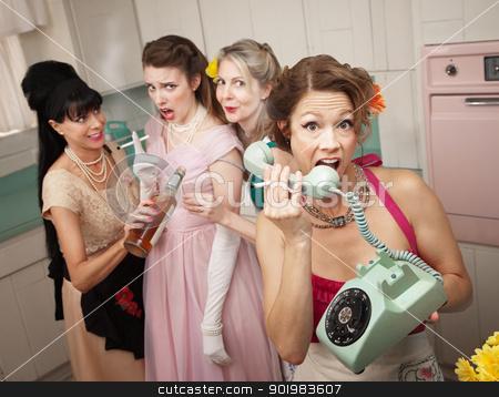 Woman Yelling On Phone stock photo, Retro-style woman yelling on phone while her friends drink and smoke by Scott Griessel