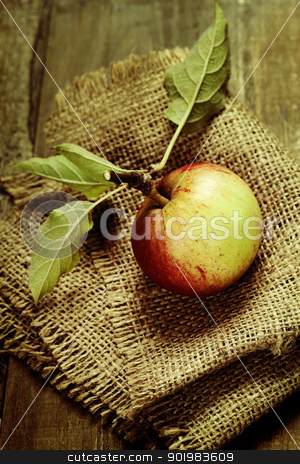 apple stock photo, Healthy ripe apple on a wooden table by klenova