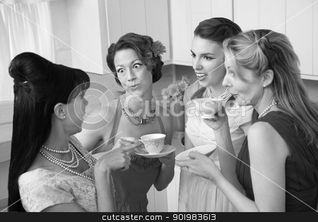 Gossiping Women stock photo, Four retro-styled women chit-chat over coffee in a kitchen by Scott Griessel