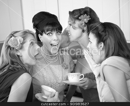 Women Share Secrets stock photo, Group of four excited housewives in a kitchen share secrets by Scott Griessel