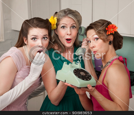 Three Retro Women stock photo, Three pretty women in kitchen with telephone by Scott Griessel
