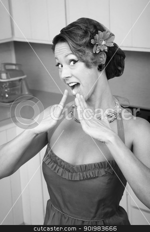 Happy Woman  stock photo, Happy Caucasian woman with hands near face in the kitchen by Scott Griessel