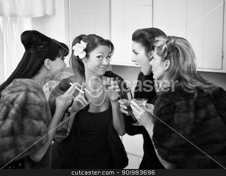 Women Joking and Smoking stock photo, Four Caucasian women in mink coats smoking and drinking by Scott Griessel