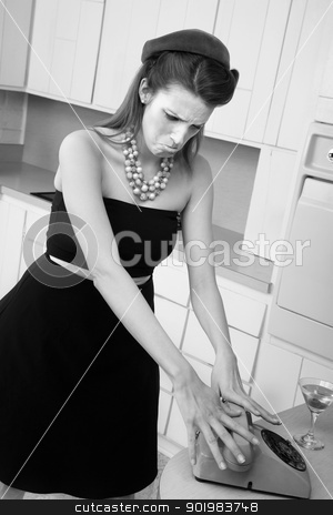 Upset Woman stock photo, Upset young Caucasian woman slams down phone receiver by Scott Griessel