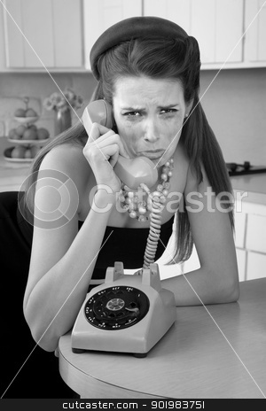 Woman Crys On The Phone stock photo, Mascara smeared housewife crys on phone in a retro-style scene by Scott Griessel