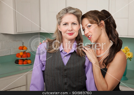 Confident Lesbian Couple stock photo, Confident Lesbian couple in a retro-styled kitchen scene by Scott Griessel