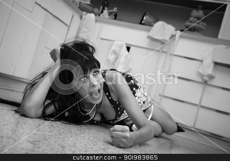 Weeping Woman On Floor stock photo, Weeping woman on the floor throws a temper tantrum on floor by Scott Griessel
