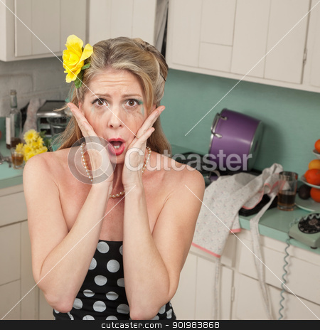 Shocked Woman stock photo, Shocked woman weeping with hands on face in retro-styled kitchen scene by Scott Griessel