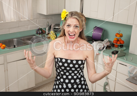 Angry Housewife stock photo, Angry Caucasian woman screams in her kitchen by Scott Griessel