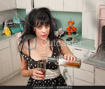 Weeping Woman stock photo, Drunk woman pouring alcohol from a bottle by Scott Griessel