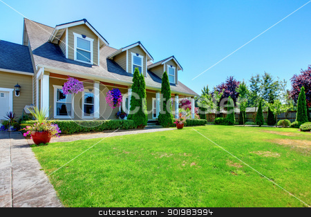 American Country farm luxury house with porch. stock photo, American Country farm luxury house with porch and beautiful flowers. by iriana88w