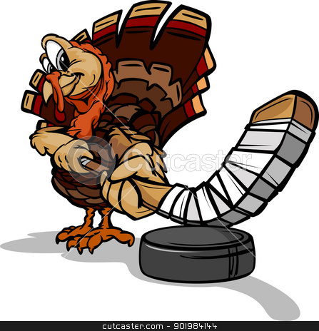 Hockey Thanksgiving Holiday Turkey Cartoon Vector Illustration stock vector clipart, Cartoon Vector Image of a Thanksgiving Holiday Hockey Turkey with Hockey Stick and Puck by chromaco