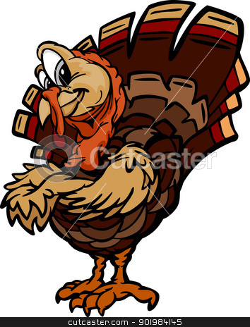 Happy Thanksgiving Holiday Turkey Cartoon Vector Illustration stock vector clipart, Cartoon Vector Image of a Thanksgiving Holiday Turkey with Crossed Arms  by chromaco