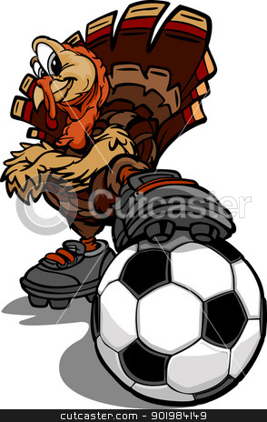 Soccer Thanksgiving Holiday Turkey Cartoon Vector Illustration stock vector clipart, Cartoon Vector Image of a Thanksgiving Holiday Soccer Turkey with Foot on a Soccer Ball by chromaco