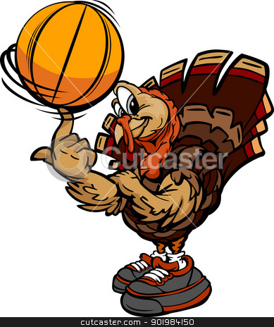 Basketball Thanksgiving Holiday Turkey Cartoon Vector Illustrati stock vector clipart, Cartoon Vector Image of a Thanksgiving Holiday Soccer Turkey spinning a Basketball Ball on Its Finger by chromaco