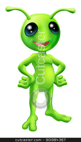 Cute cartoon alien illustration stock vector clipart, Cartoon green  happy friendly alien standing with his hands on his hips by Christos Georghiou