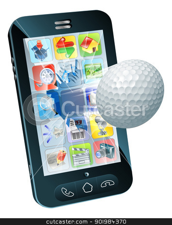Golf ball flying out of mobile phone stock vector clipart, Illustration of a golf ball flying out of mobile phone screen by Christos Georghiou