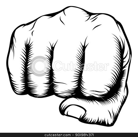Hand in fist punching from front stock vector clipart, Illustration of a front view of a right human hand punching towards viewer in a retro woodblock style by Christos Georghiou
